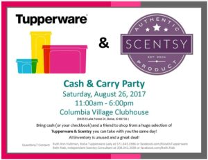 Tupperware & Scentsy Cash & Carry Party @ Columbia Village Rec Center