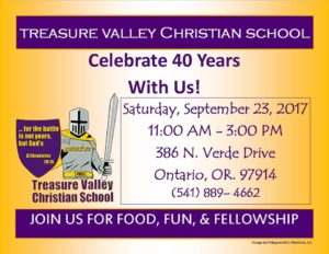 40th Anniversary Celebration @ Treasure Valley Christian School