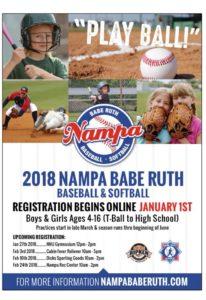Nampa Babe Ruth walk in registration plus FREE mini camp @ Northwest Nazerene University Johnson Sports Center | Nampa | Idaho | United States