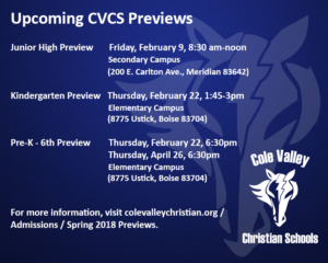 Cole Valley Christian Schools Kindergarten Preview @ Cole Valley Christian Schools Elementary Campus | Boise | Idaho | United States
