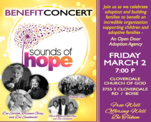 Sounds of Hope Benefit Concert (celebrating adoption) @ Cloverdale Church of God | Boise | Idaho | United States